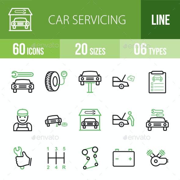 Car Servicing Line Green & Black Icons
