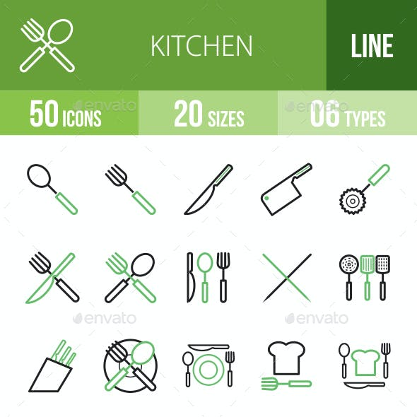 Kitchen Line Green & Black Icons
