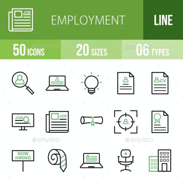 Employment Line Green & Black Icons