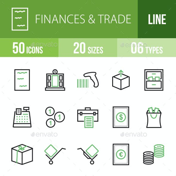 Finances & Trade Line Green & Black Icons