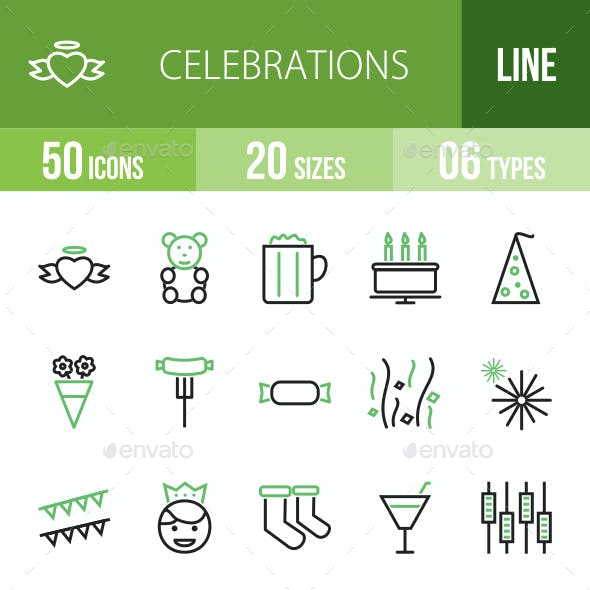 Celebrations Line Green & Black Icons