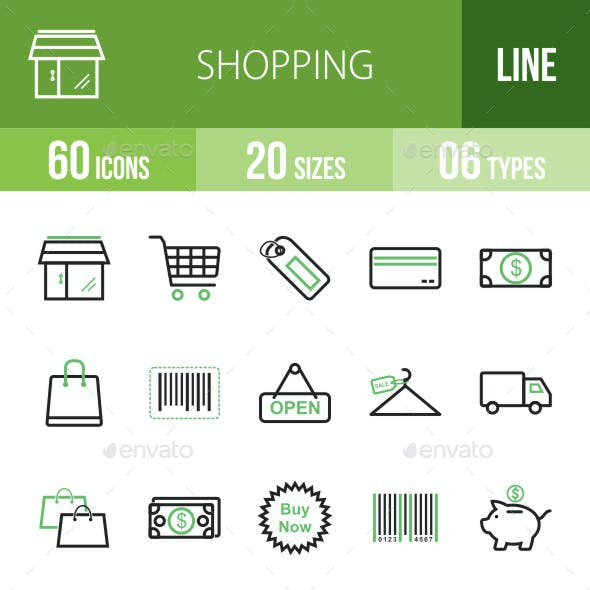 Shopping Line Green & Black Icons