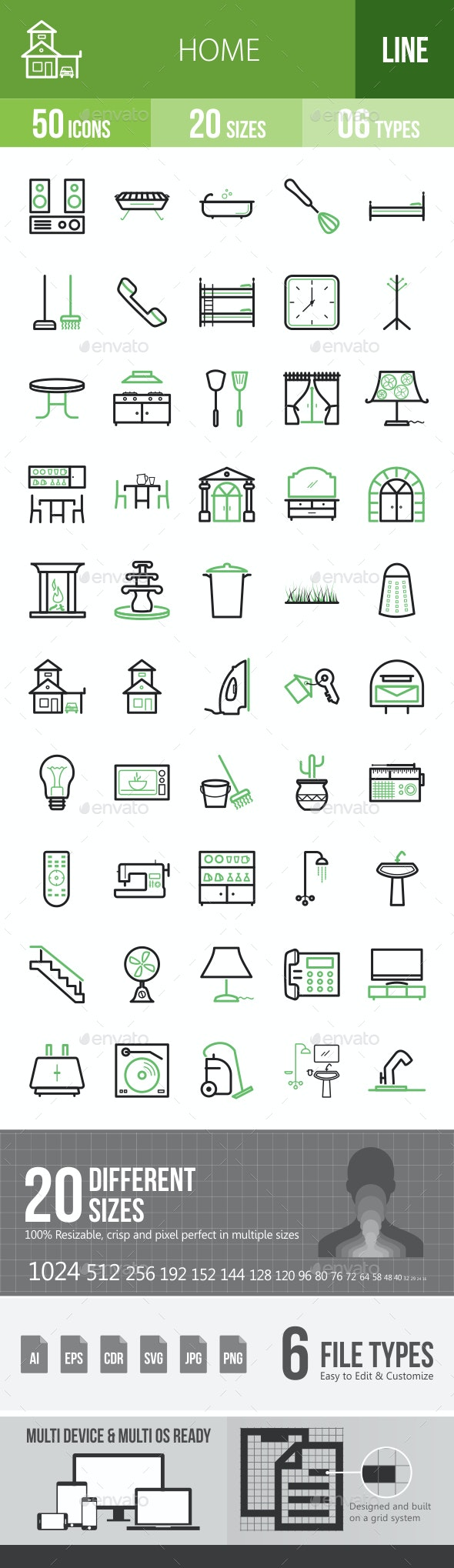 Home Line Green & Black Icons - Icons