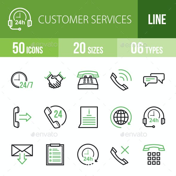 Customer Services Line Green & Black Icons