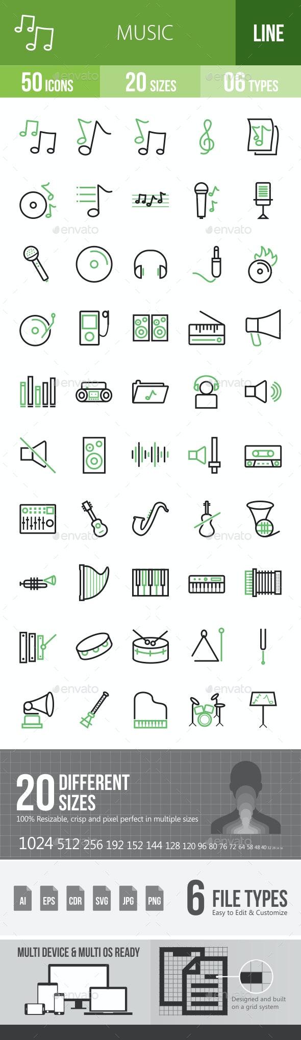 Music Line Green & Black Icons - Icons