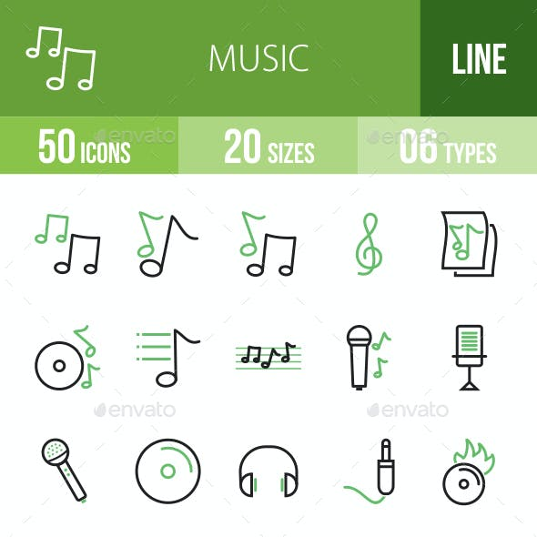 Music Line Green & Black Icons