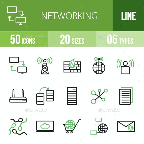 Networking Line Green & Black Icons