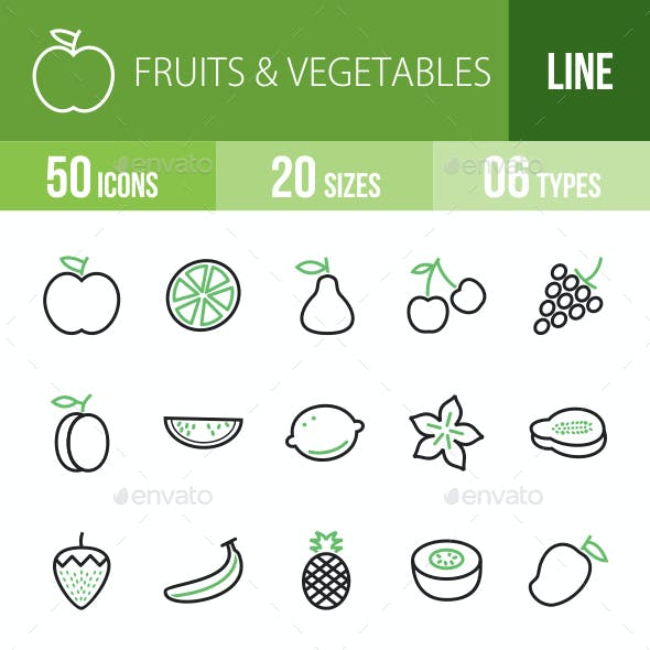 Fruits & Vegetables Line Green & Black Icons