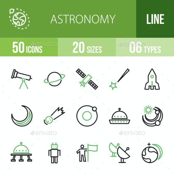 Astronomy Green & Black Icons