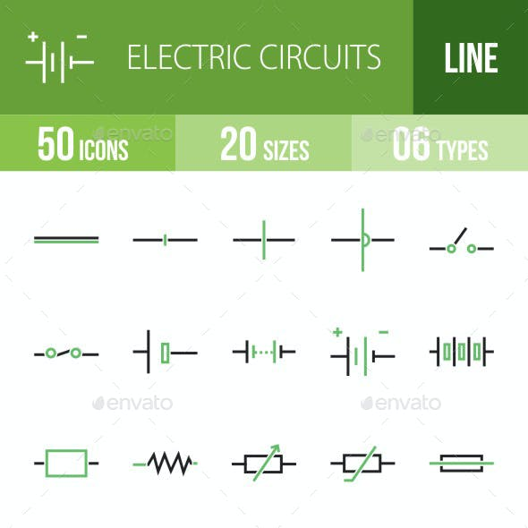 Electric Circuits Green & Black Icons