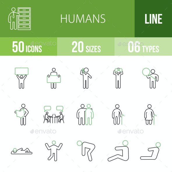 Humans Green & Black Icons