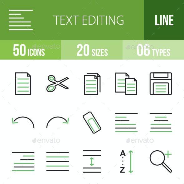 Text Editing Green & Black Icons