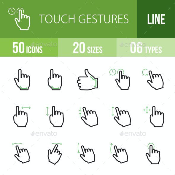 Touch Gestures Green & Black Icons