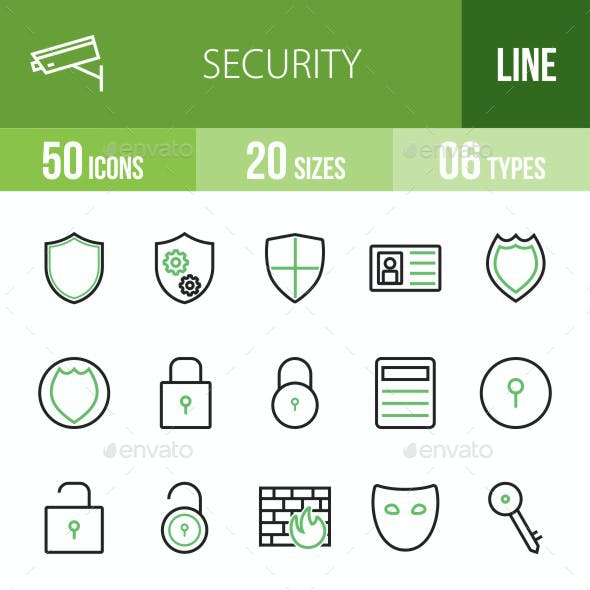 Security Green & Black Icons