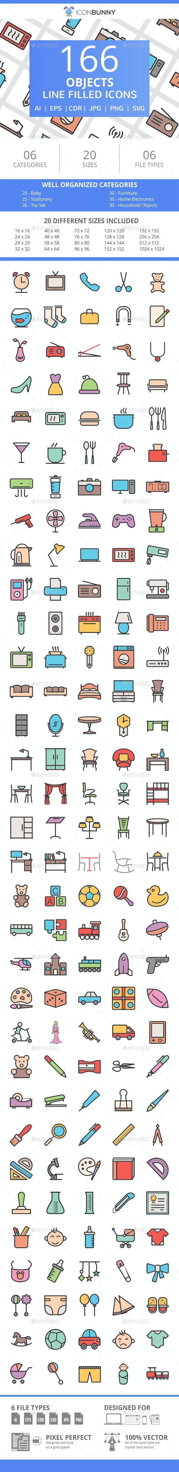 166 Objects Filled Line Icons - Icons