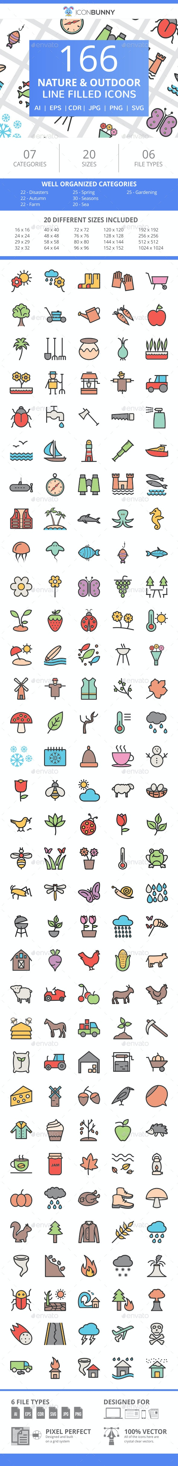166 Nature & Outdoor Filled Line Icons - Icons