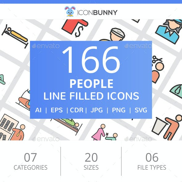 166 People Filled Line Icons
