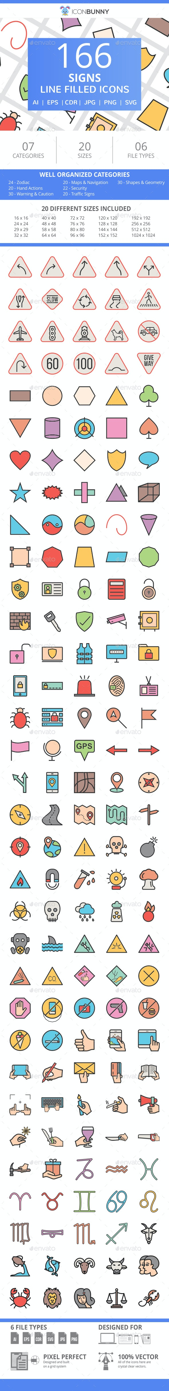 166 Signs Filled Line Icons - Icons