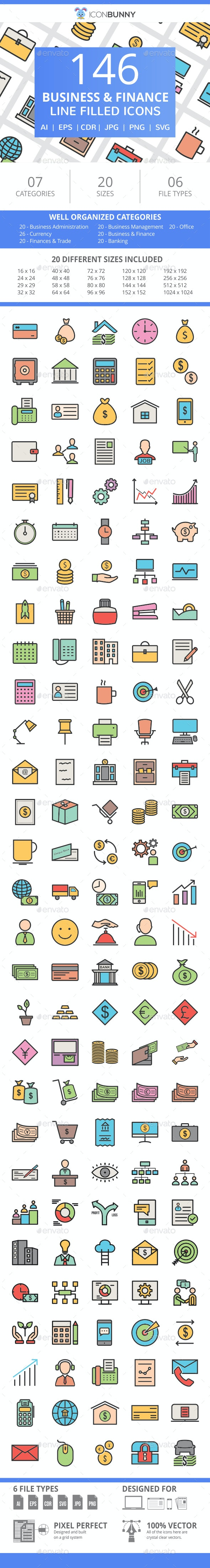 146 Business & Finance Filled Line Icons - Icons