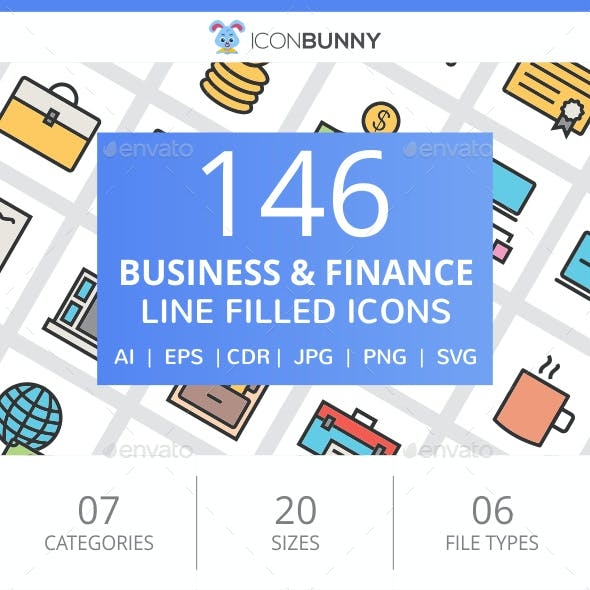 146 Business & Finance Filled Line Icons