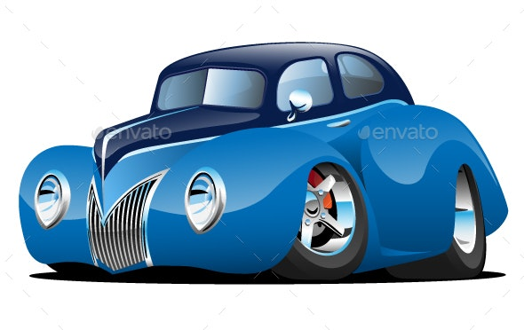 Classic Street Rod Coupe Custom Car Cartoon Vector Illustration - Man-made Objects Objects