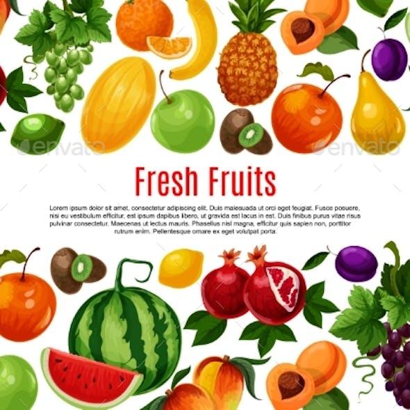 Vector Poster of Fresh Garden or Tropical Fruits