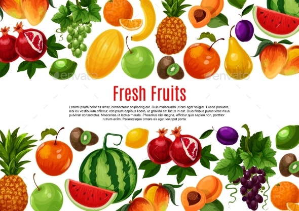 Vector Poster of Fresh Garden or Tropical Fruits - Food Objects