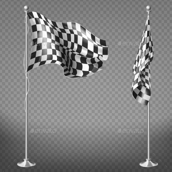 Vector Set of Checkered Racing Flags on Poles - Objects Vectors