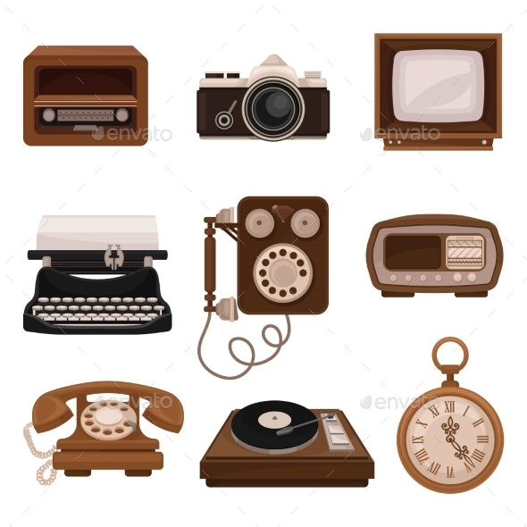 Vintage Technologies Set - Retro Technology