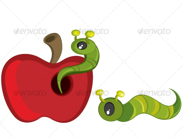 Green caterpillar on red apple - Organic Objects Objects