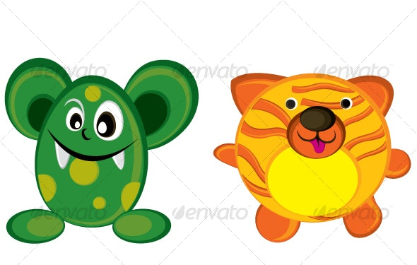 Tiger with orange stripes and cute green monster - Monsters Characters