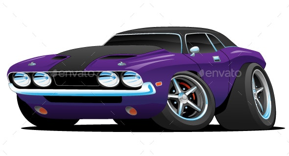 Classic Muscle Car Cartoon - Miscellaneous Vectors