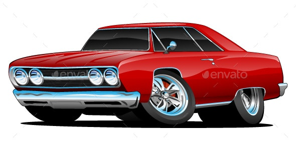 Red Hot Classic Muscle Car Coupe Cartoon - Miscellaneous Vectors