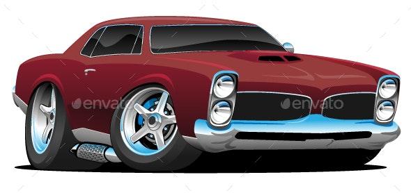 Classic American Muscle Car Cartoon - Miscellaneous Vectors