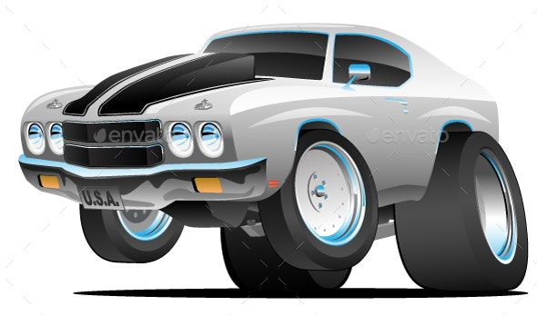 Classic Seventies Style American Muscle Car Cartoon - Miscellaneous Vectors