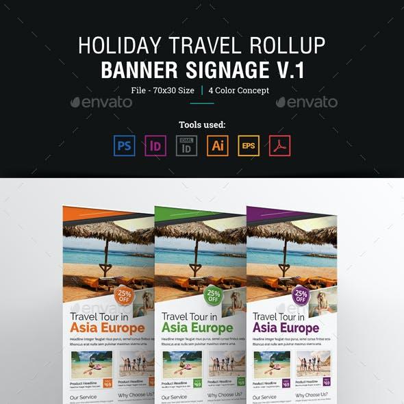 Holiday Travel Rollup Banner Signage Design v1
