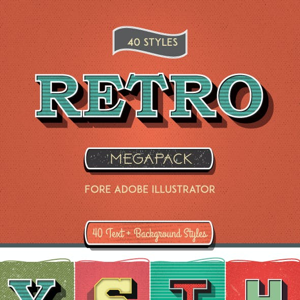 Vintage Mega Pack Graphic Styles for Adobe Illustrator