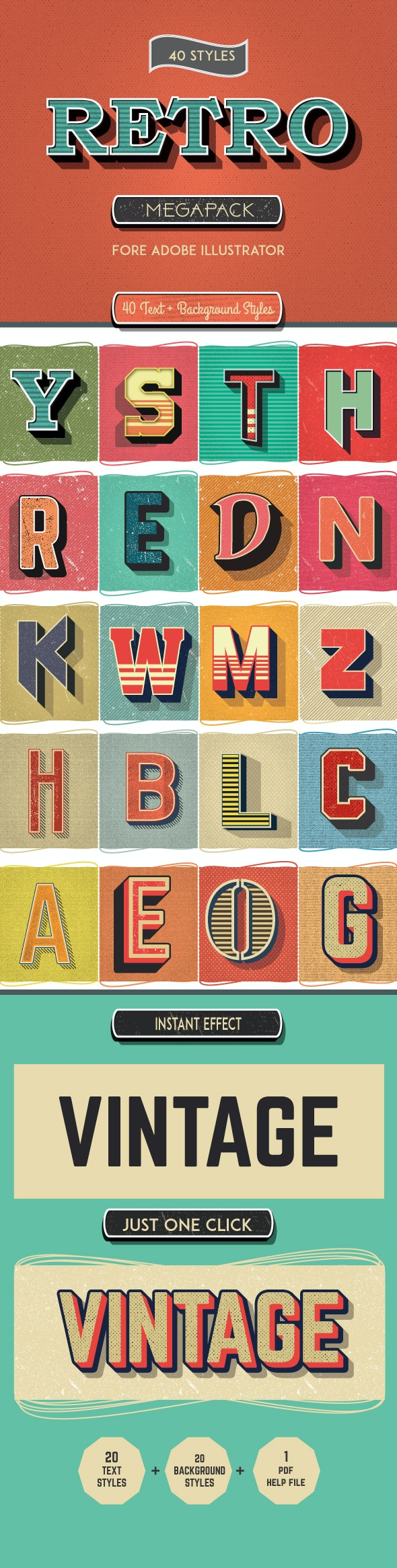 Vintage Mega Pack Graphic Styles for Adobe Illustrator - Styles Illustrator