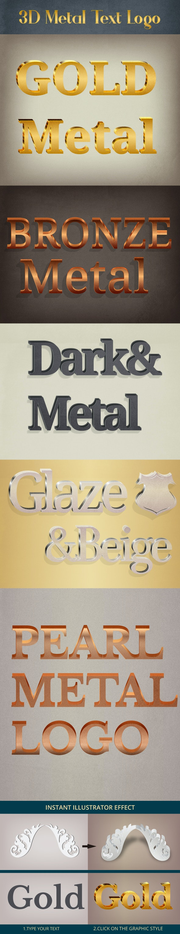 Metal Wall Text Logo styles for illustrator - Styles Illustrator