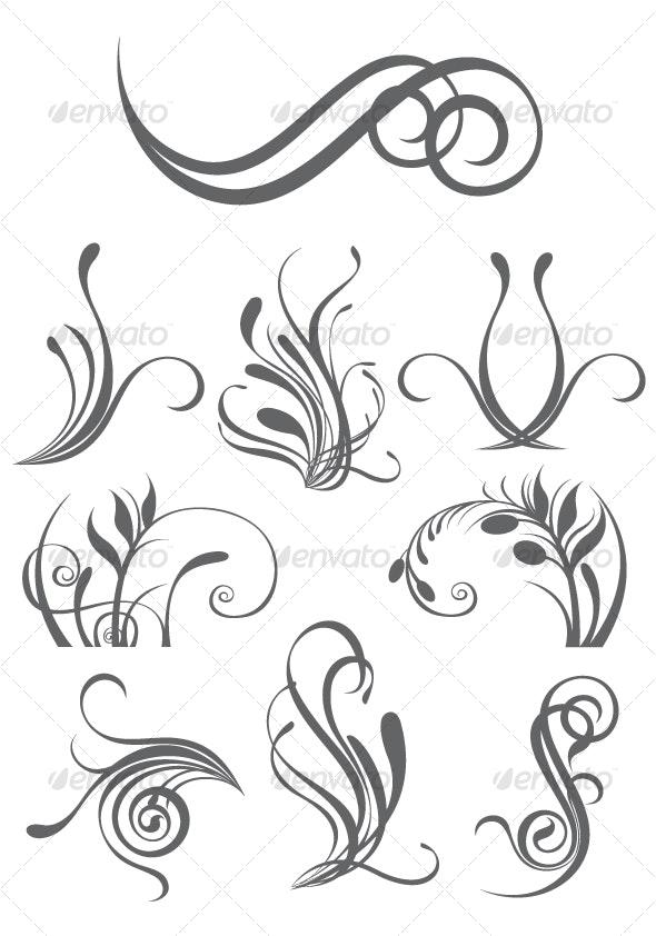Floral design elements - Tattoos Vectors