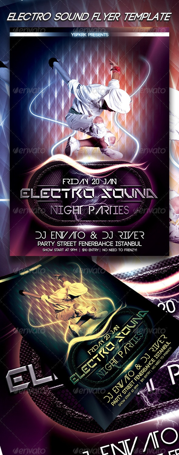 Electro Sound Flyer Template - Flyers Print Templates