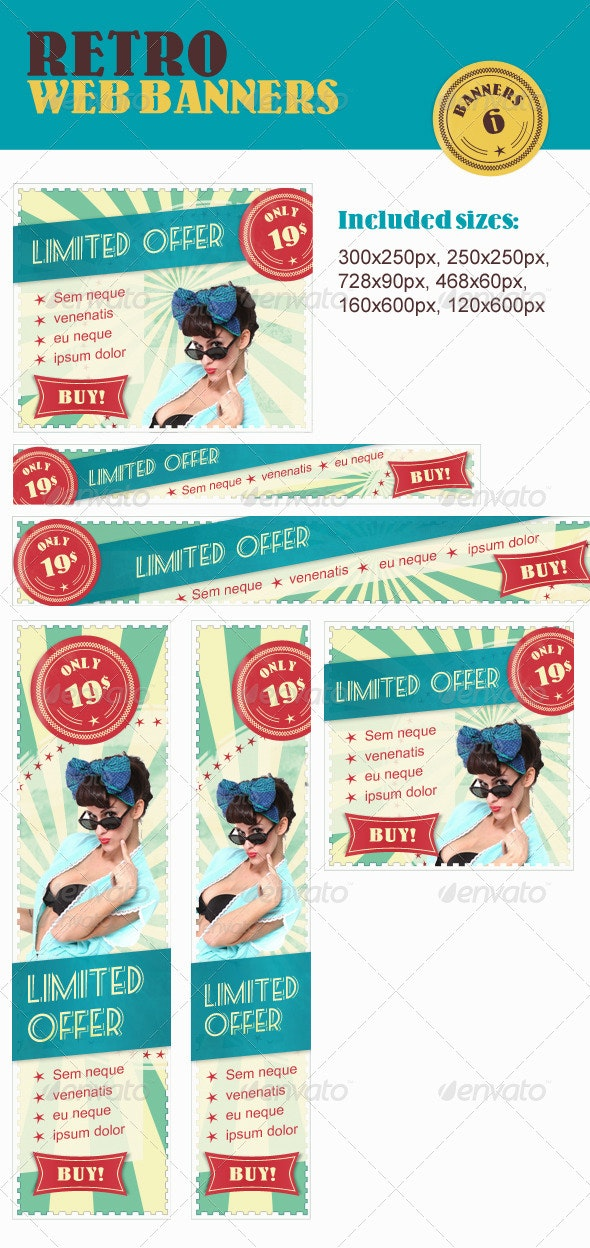 Retro Web Banners Pack - Banners & Ads Web Elements