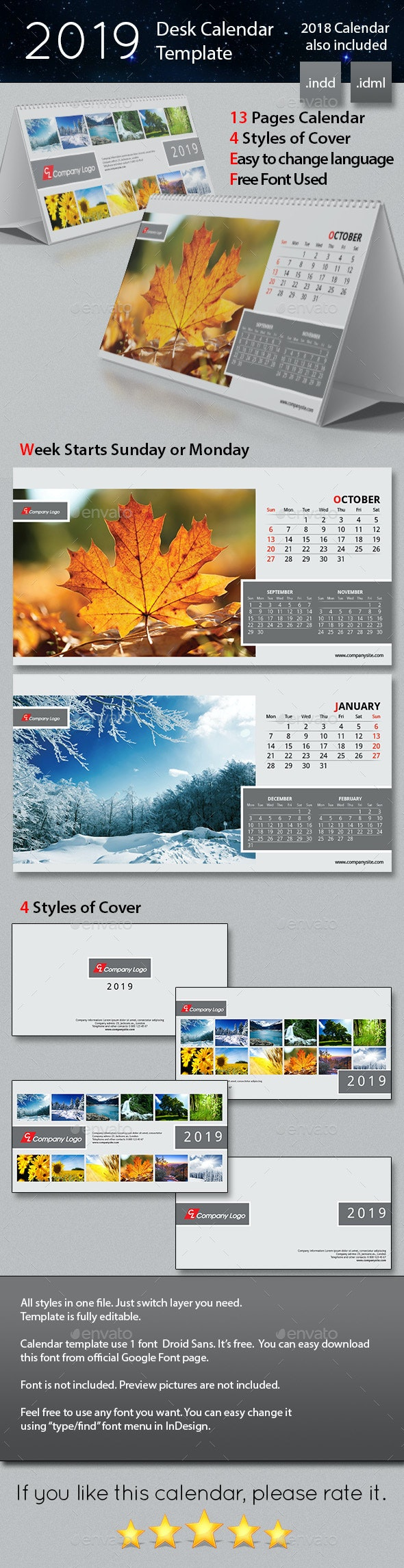 2019 Desk Calendar Template - Calendars Stationery