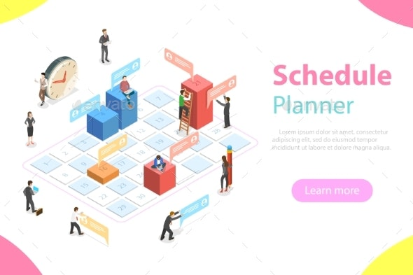 Schedule Planner Flat Isometric Vector Concept. - Computers Technology