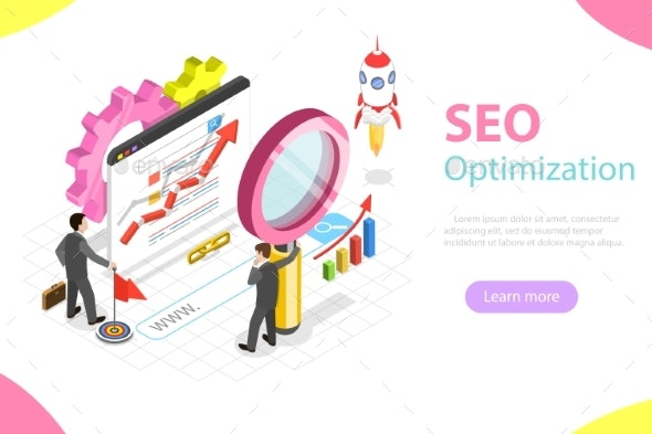 SEO Flat Isometric Vector Concept. - Computers Technology