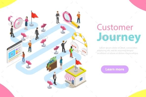 Customer Journey Flat Isometric Vector. - Computers Technology