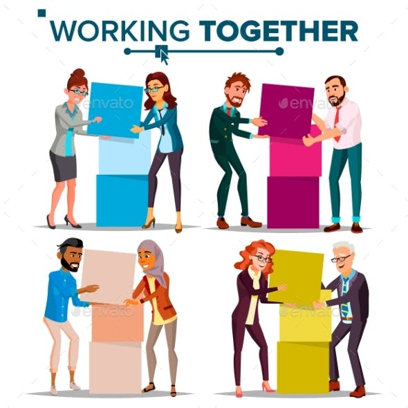 Working Together Concept Vector. Communication