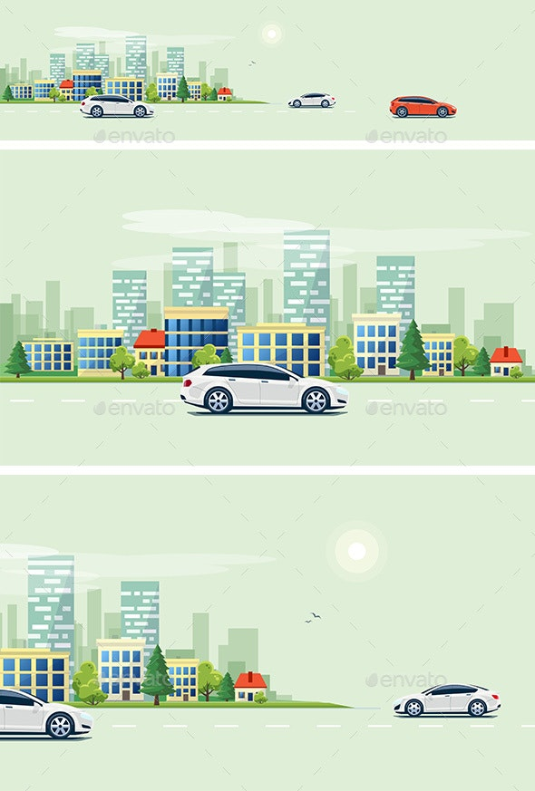 Urban Landscape Street Road with Cars and City Building Skyline - Travel Conceptual