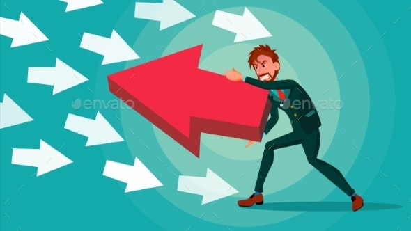 Businessman Pushing Arrow Vector. Strategy Concept - Business Conceptual