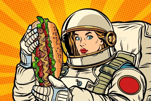 Hungry Woman Astronaut with Hot Dog - Food Objects